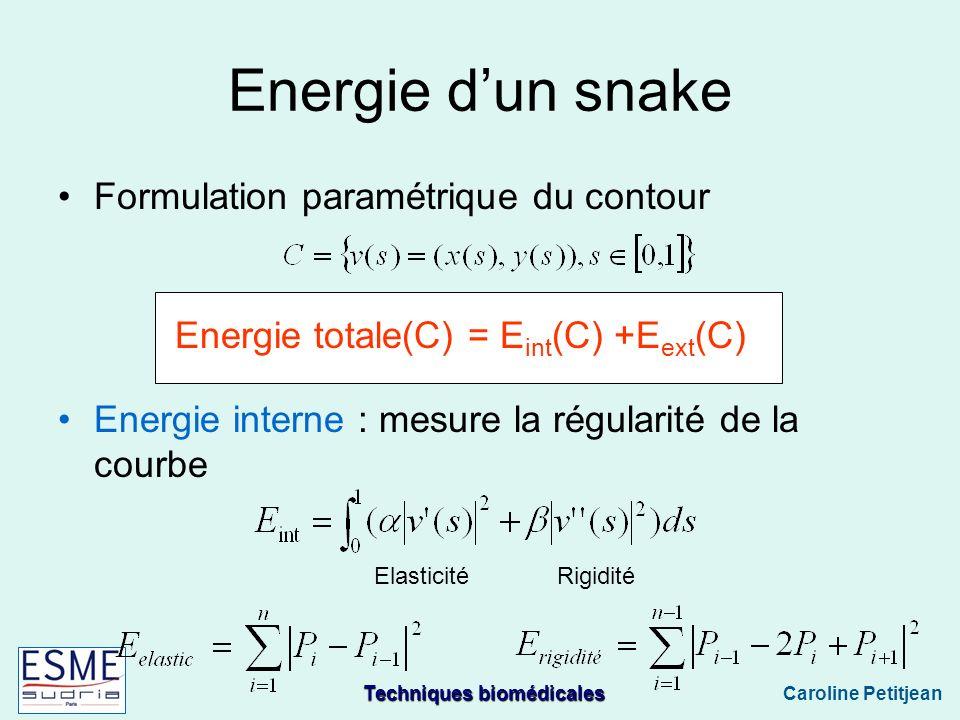 Energie totale(C) = Eint(C) +Eext(C)
