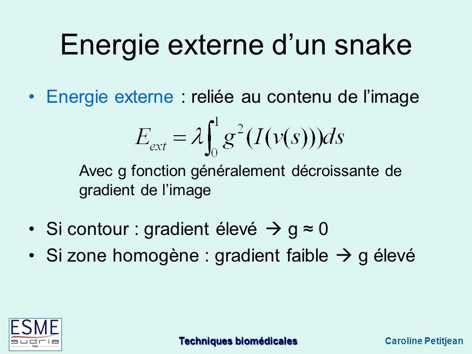 Energie externe d'un snake