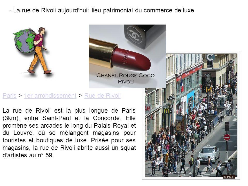 - La rue de Rivoli aujourd'hui: lieu patrimonial du commerce de luxe