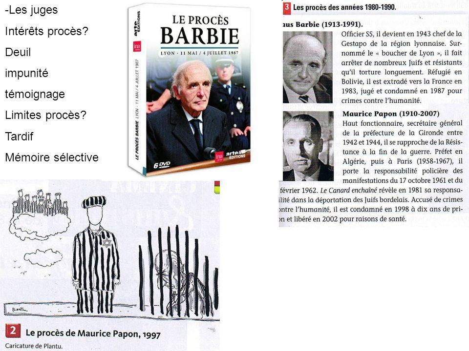 -Les juges Intérêts procès Deuil impunité témoignage Limites procès Tardif Mémoire sélective