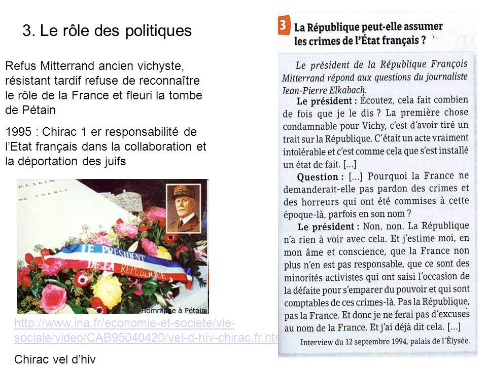 3. Le rôle des politiques Refus Mitterrand ancien vichyste, résistant tardif refuse de reconnaître le rôle de la France et fleuri la tombe de Pétain.