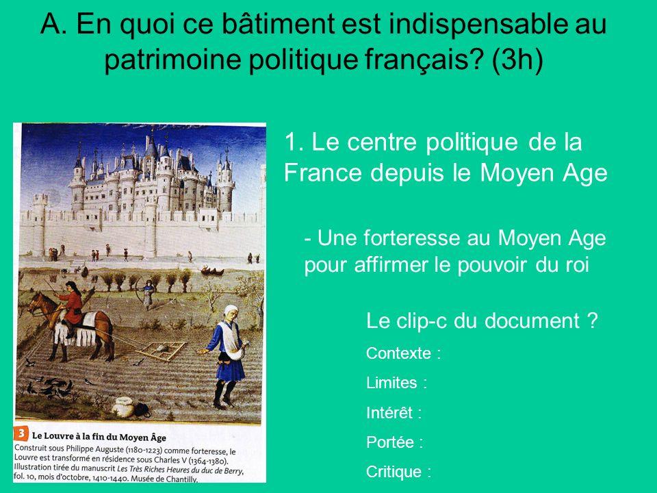 A. En quoi ce bâtiment est indispensable au patrimoine politique français (3h)