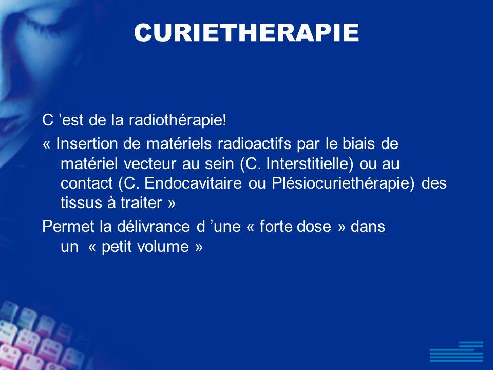 CURIETHERAPIE C 'est de la radiothérapie!