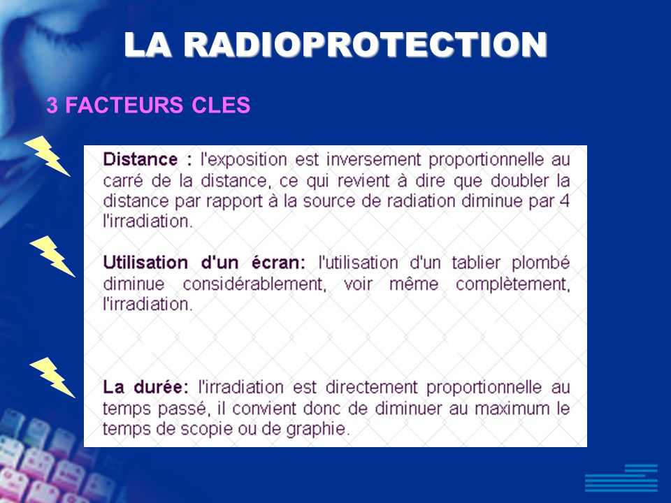 LA RADIOPROTECTION 3 FACTEURS CLES