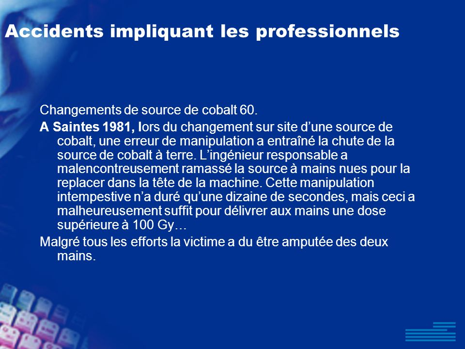 Accidents impliquant les professionnels