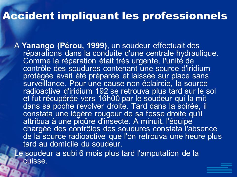 Accident impliquant les professionnels