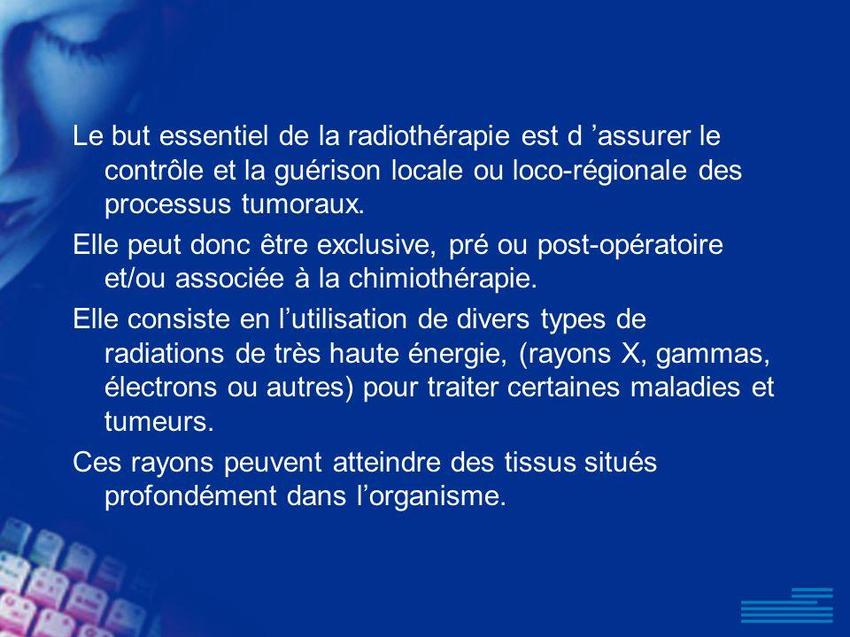 Le but essentiel de la radiothérapie est d 'assurer le contrôle et la guérison locale ou loco-régionale des processus tumoraux.