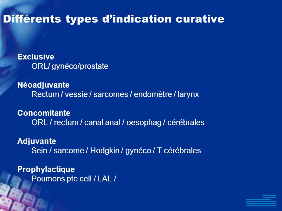 Différents types d'indication curative