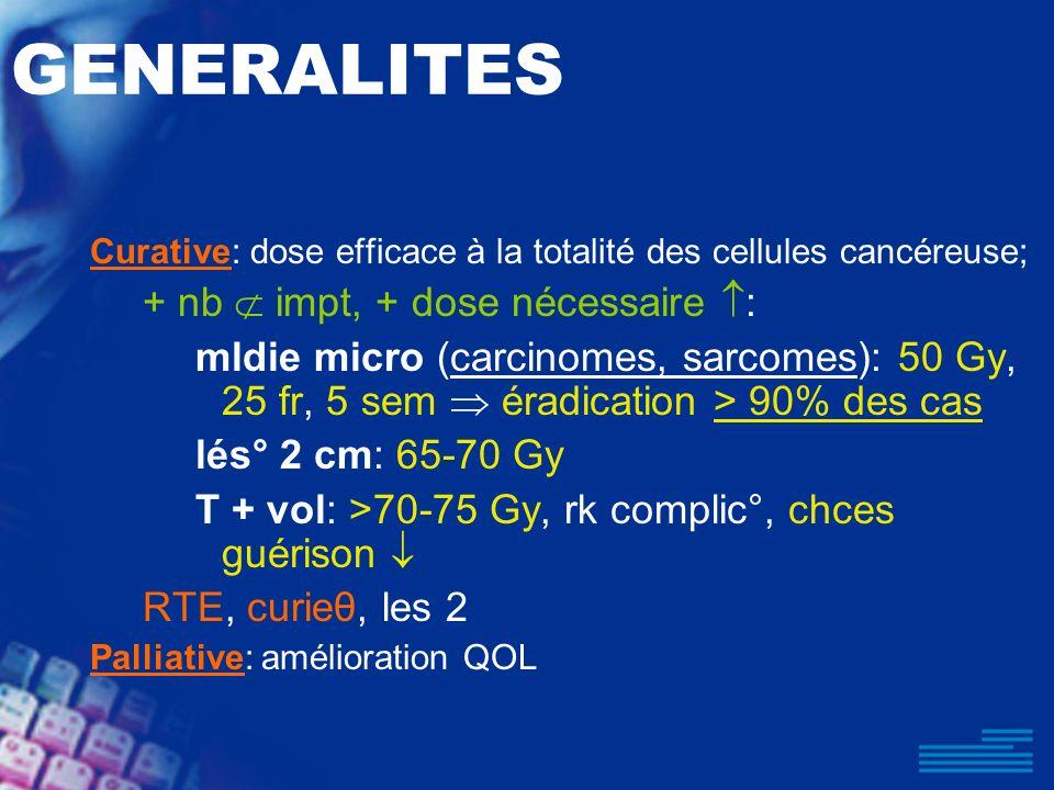 GENERALITES + nb  impt, + dose nécessaire :