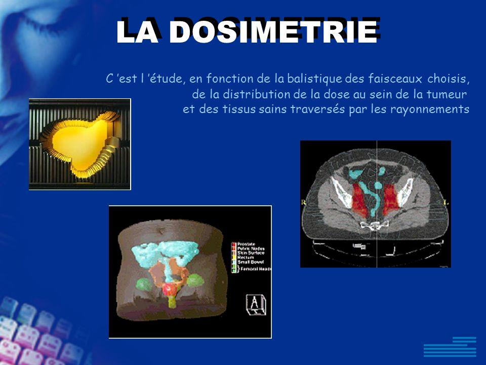 LA DOSIMETRIE C 'est l 'étude, en fonction de la balistique des faisceaux choisis, de la distribution de la dose au sein de la tumeur.
