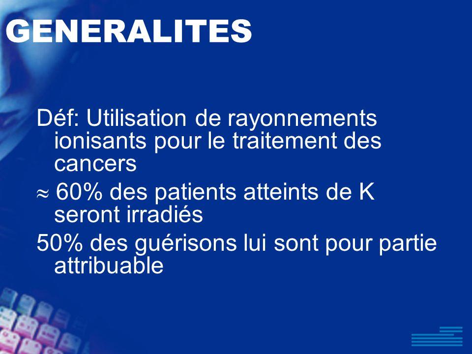 GENERALITES Déf: Utilisation de rayonnements ionisants pour le traitement des cancers.  60% des patients atteints de K seront irradiés.