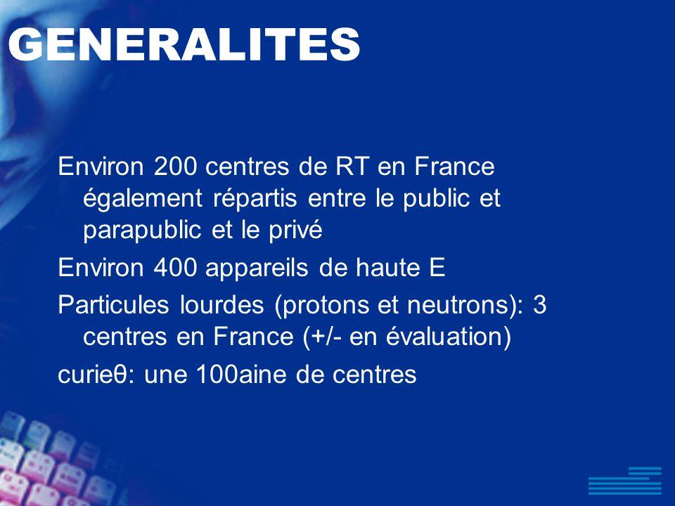 GENERALITES Environ 200 centres de RT en France également répartis entre le public et parapublic et le privé.