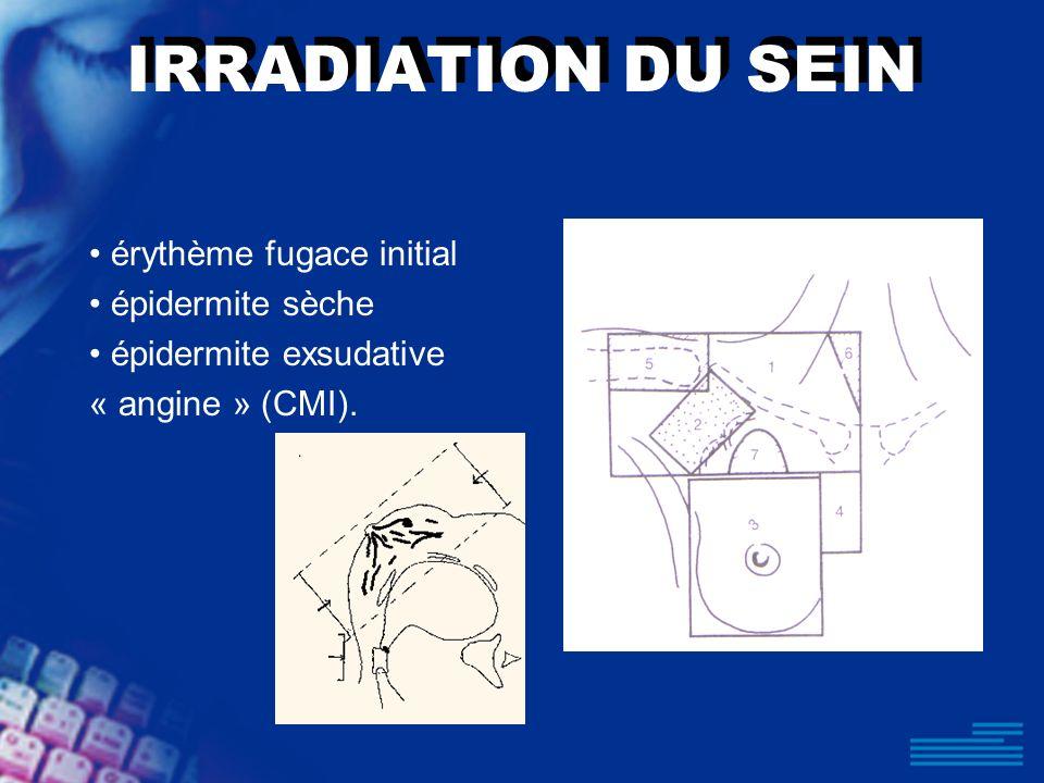 IRRADIATION DU SEIN • érythème fugace initial • épidermite sèche