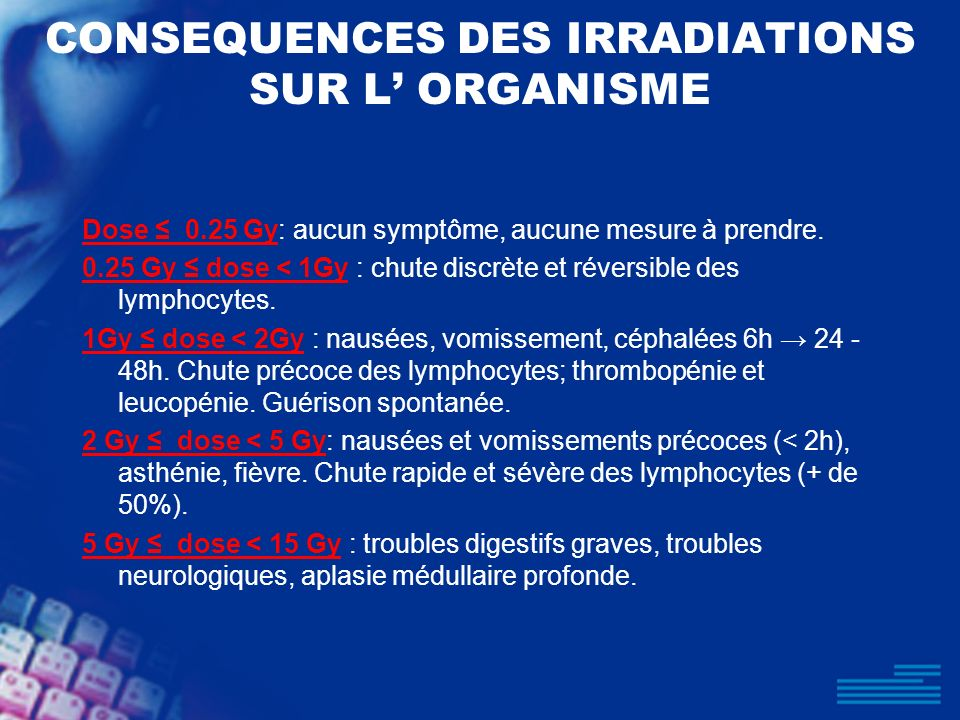 CONSEQUENCES DES IRRADIATIONS SUR L' ORGANISME