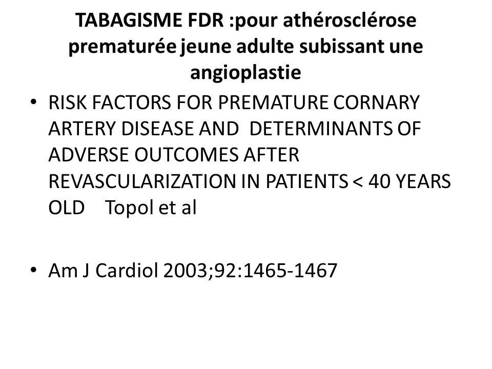 TABAGISME FDR :pour athérosclérose prematurée jeune adulte subissant une angioplastie