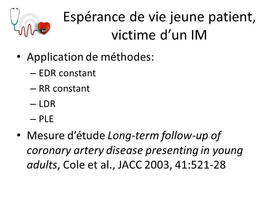 Espérance de vie jeune patient, victime d'un IM