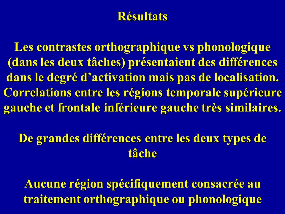 Résultats Les contrastes orthographique vs phonologique (dans les deux tâches) présentaient des différences dans le degré d'activation mais pas de localisation.