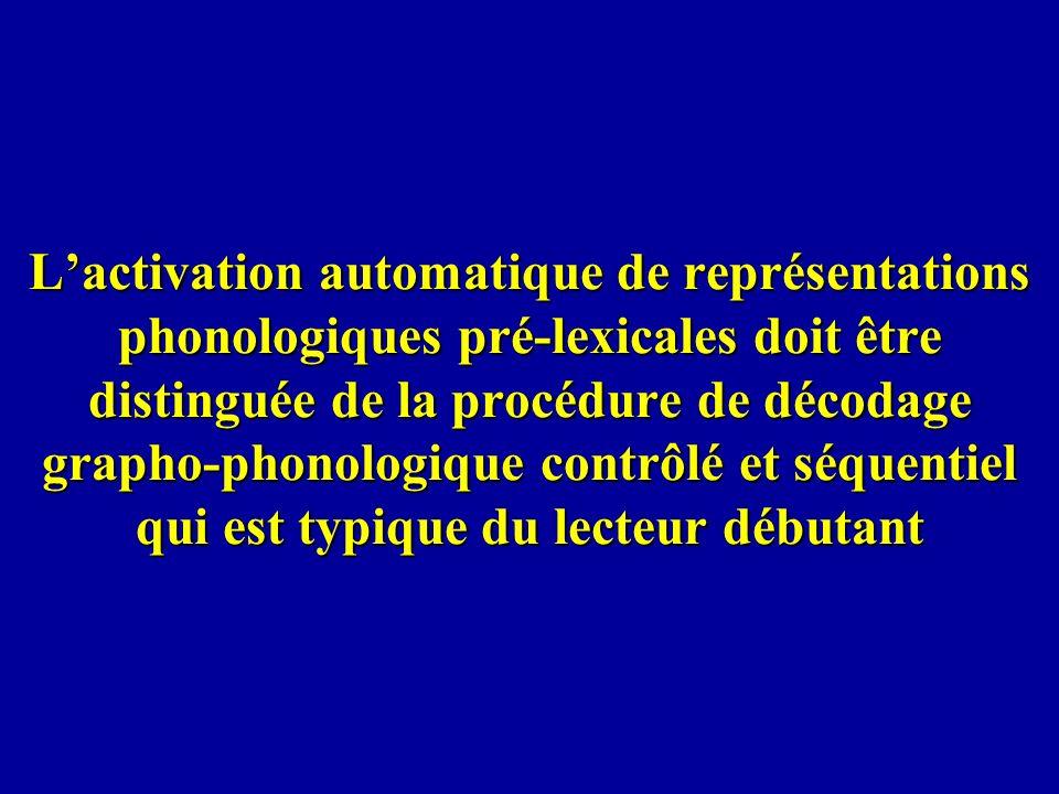 L'activation automatique de représentations phonologiques pré-lexicales doit être distinguée de la procédure de décodage grapho-phonologique contrôlé et séquentiel qui est typique du lecteur débutant