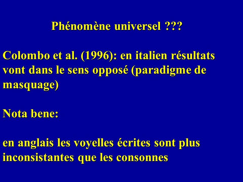 Phénomène universel. Colombo et al