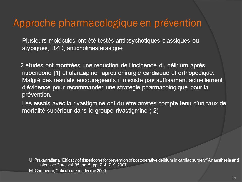 Approche pharmacologique en prévention