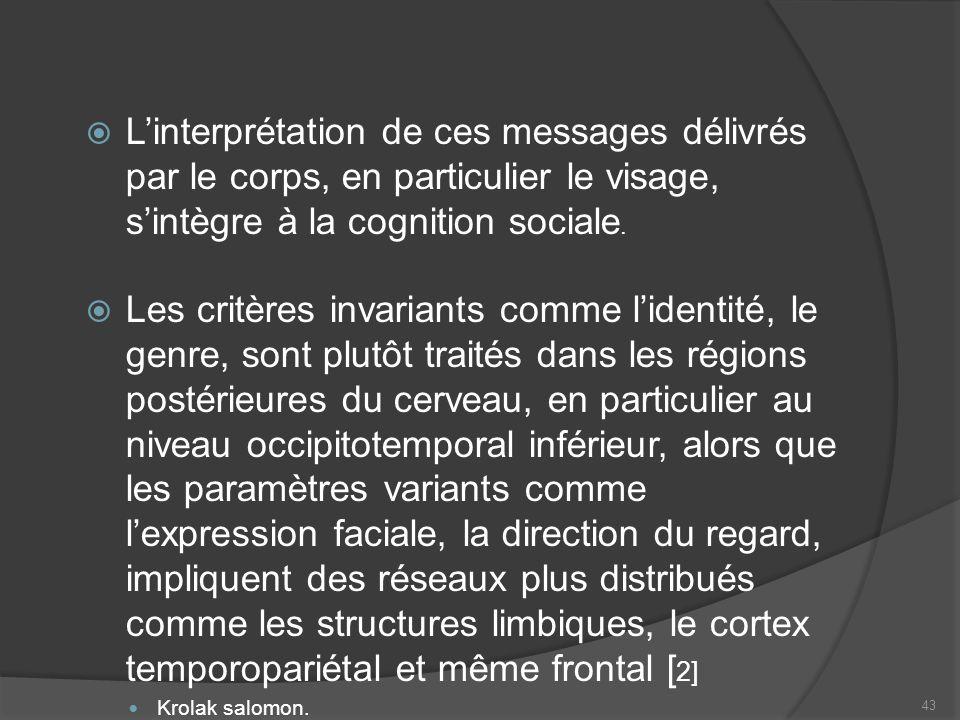 L'interprétation de ces messages délivrés par le corps, en particulier le visage, s'intègre à la cognition sociale.