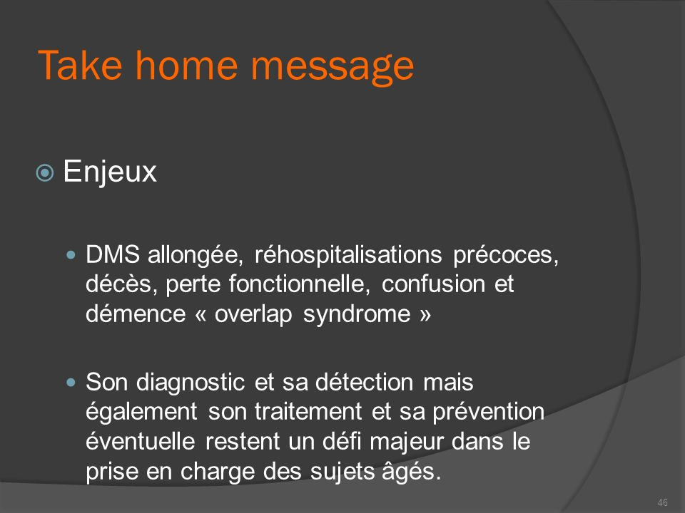 Take home message Enjeux