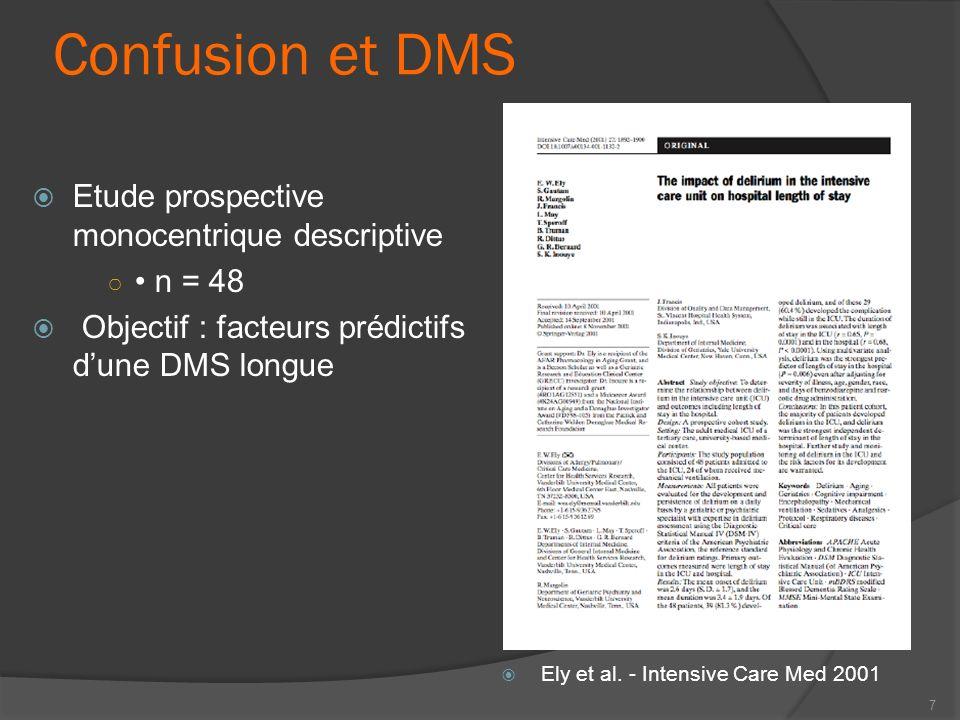 Confusion et DMS Etude prospective monocentrique descriptive • n = 48