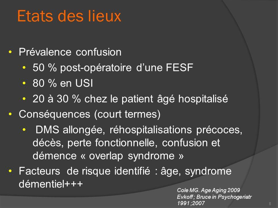 Etats des lieux Prévalence confusion 50 % post-opératoire d'une FESF