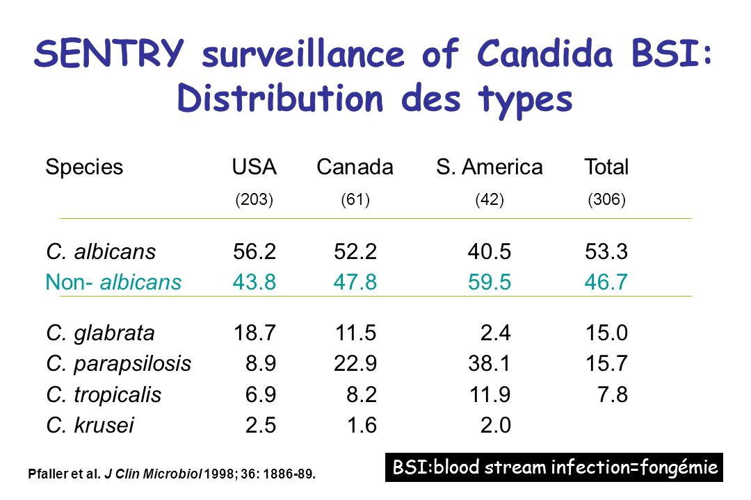 SENTRY surveillance of Candida BSI: Distribution des types