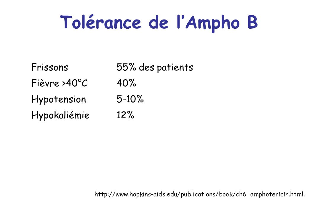 Tolérance de l'Ampho B Frissons 55% des patients Fièvre >40°C 40%