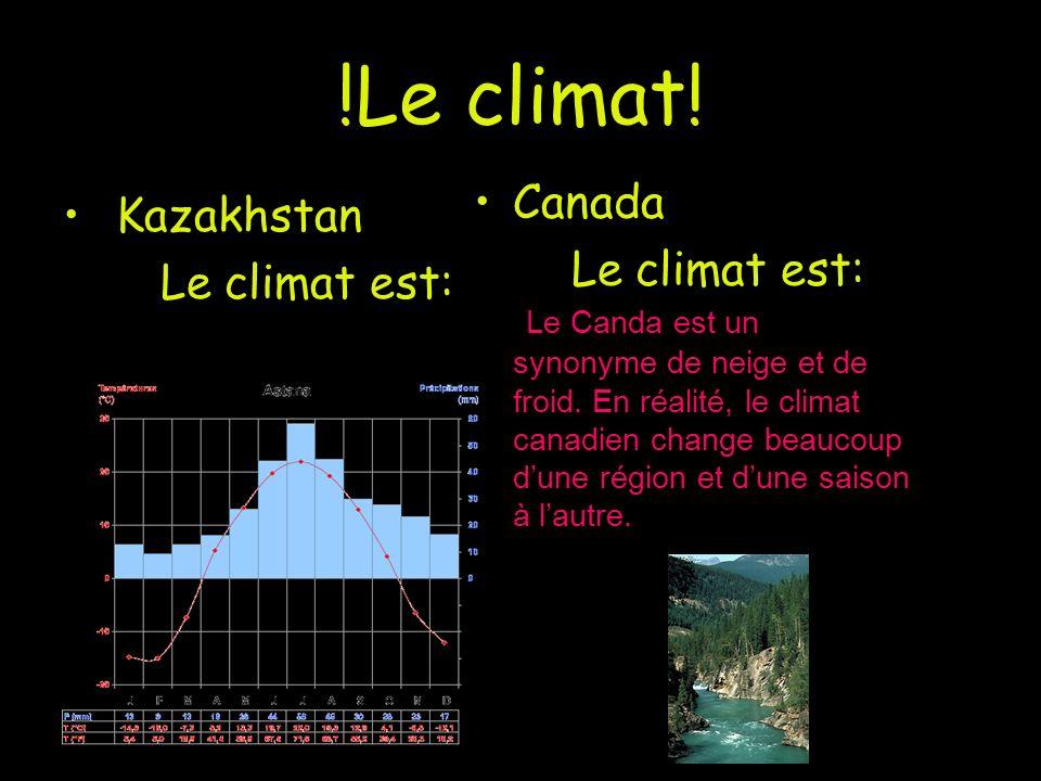 !Le climat! Canada Kazakhstan Le climat est: Le climat est: