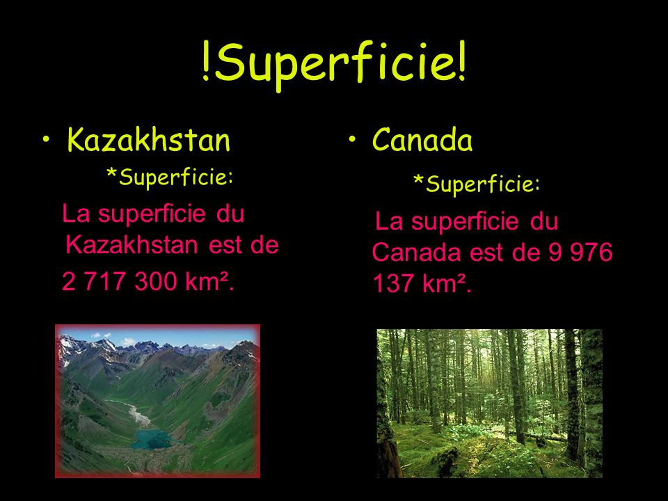 !Superficie! Kazakhstan Canada *Superficie: