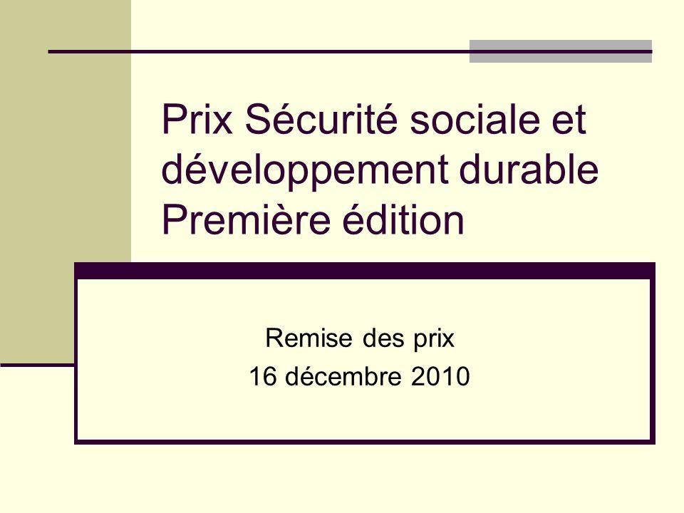 Prix Sécurité sociale et développement durable Première édition