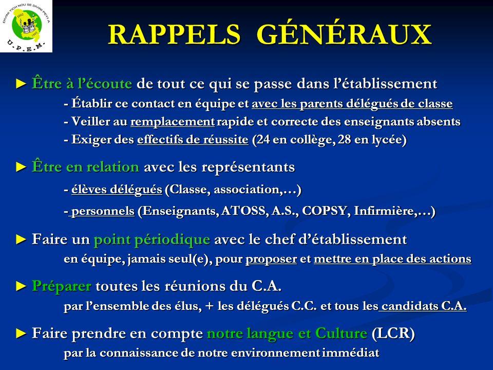 RAPPELS GÉNÉRAUX - élèves délégués (Classe, association,…)