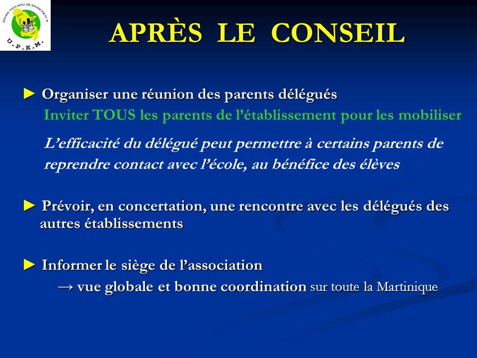 APRÈS LE CONSEIL ► Organiser une réunion des parents délégués