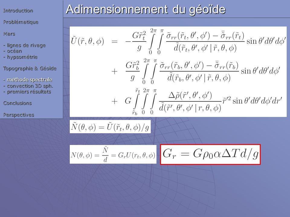Adimensionnement du géoïde
