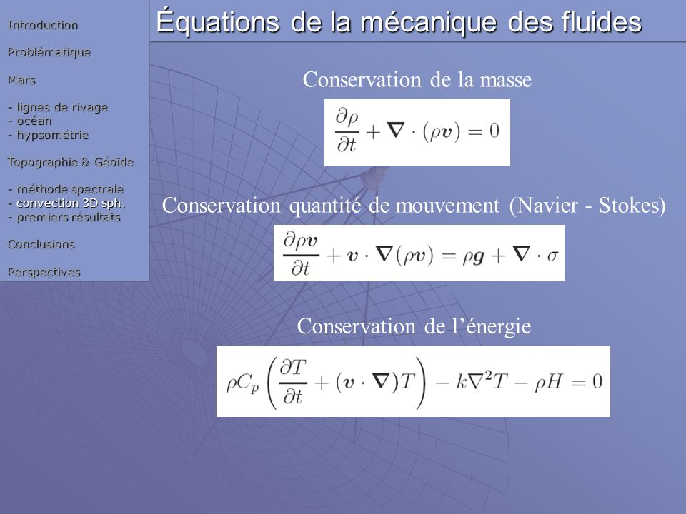 Équations de la mécanique des fluides