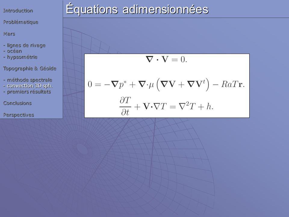 Équations adimensionnées