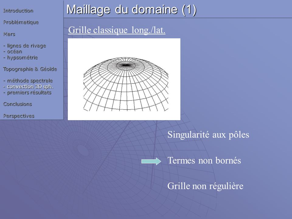 Maillage du domaine (1) Grille classique long./lat.