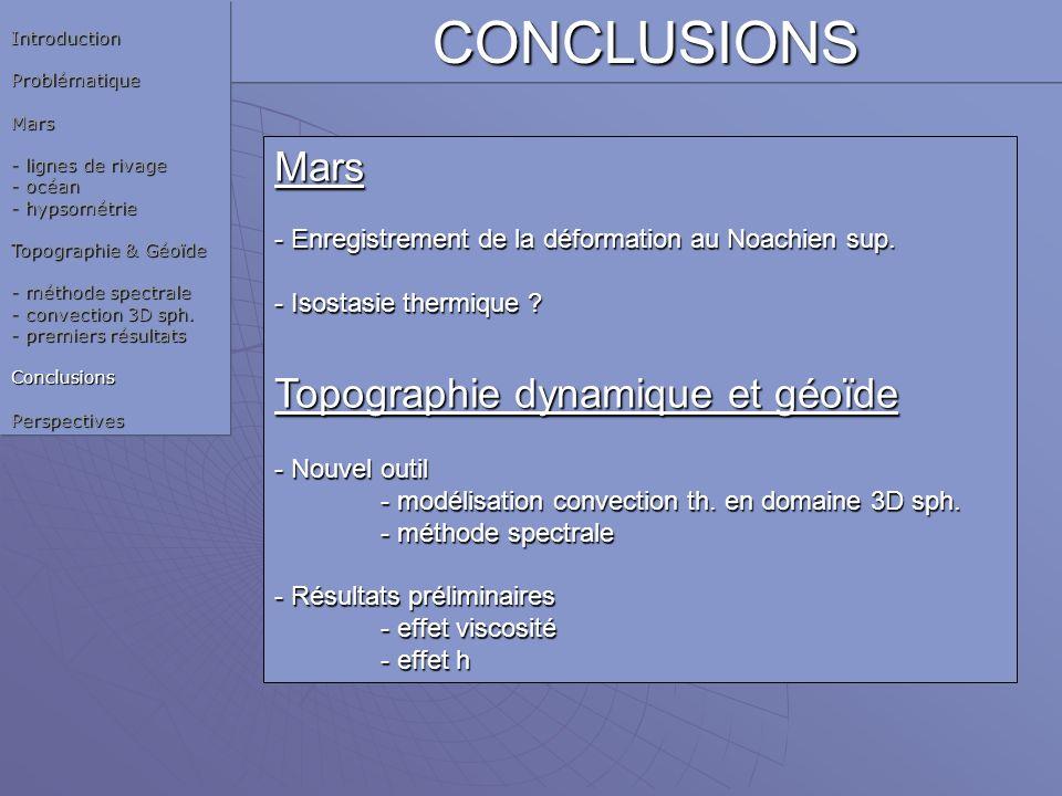 CONCLUSIONS Mars Topographie dynamique et géoïde