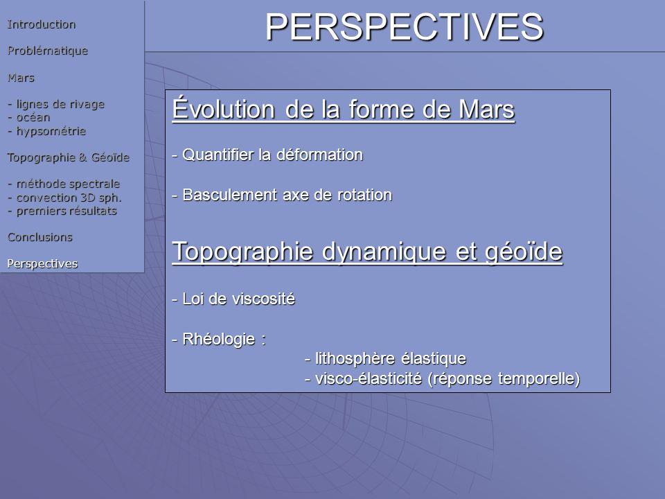 PERSPECTIVES Évolution de la forme de Mars