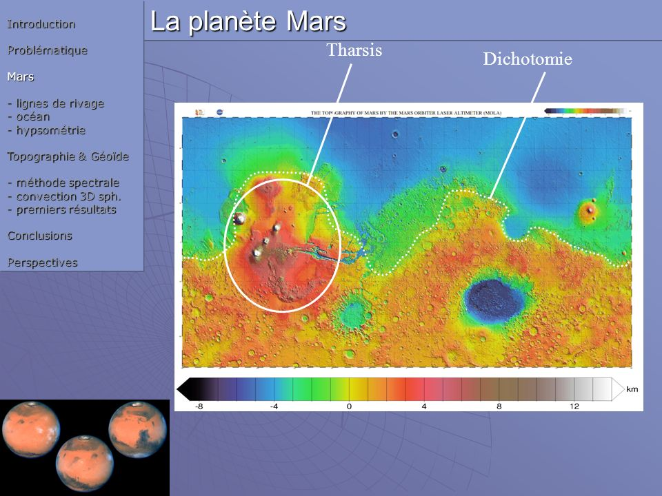 La planète Mars Tharsis Dichotomie Introduction Problématique Mars