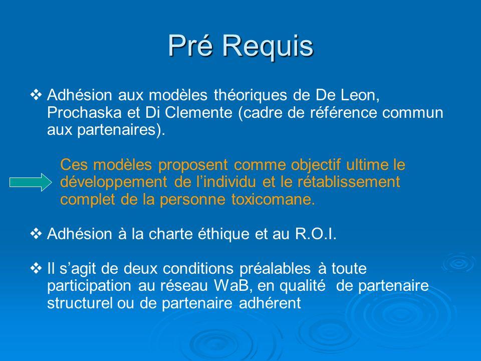 Pré Requis Adhésion aux modèles théoriques de De Leon, Prochaska et Di Clemente (cadre de référence commun aux partenaires).