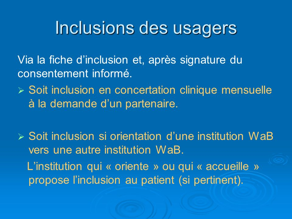 Inclusions des usagers