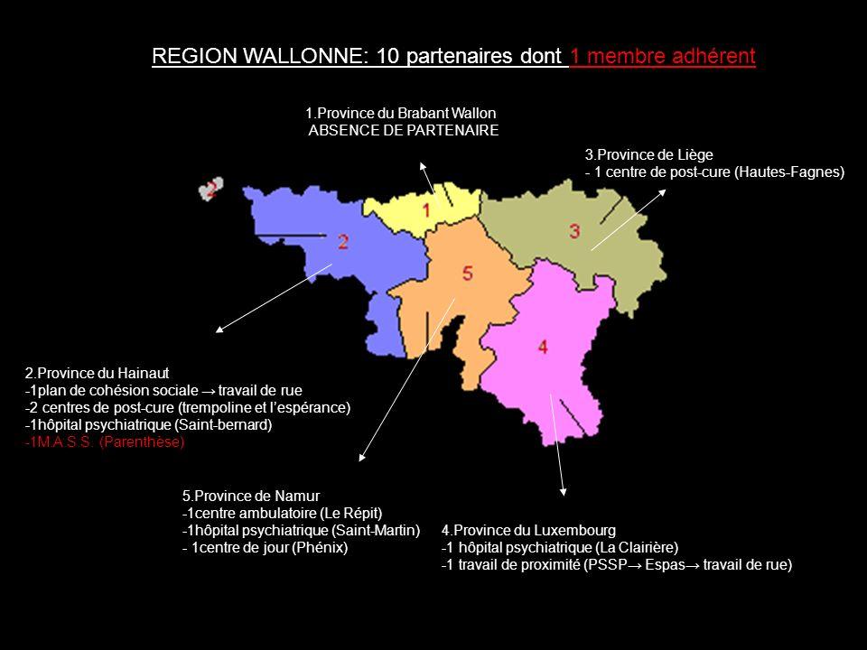 REGION WALLONNE: 10 partenaires dont 1 membre adhérent