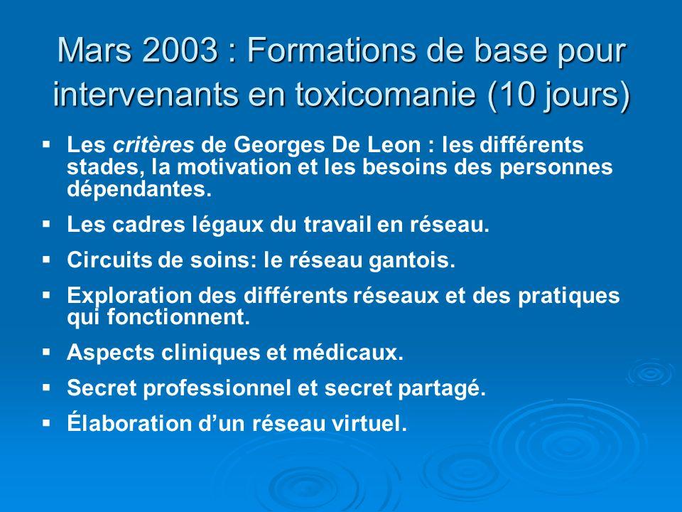 Mars 2003 : Formations de base pour intervenants en toxicomanie (10 jours)