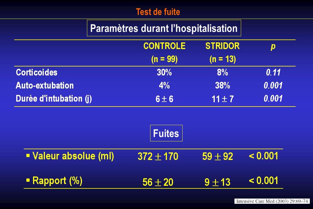 Paramètres durant l'hospitalisation