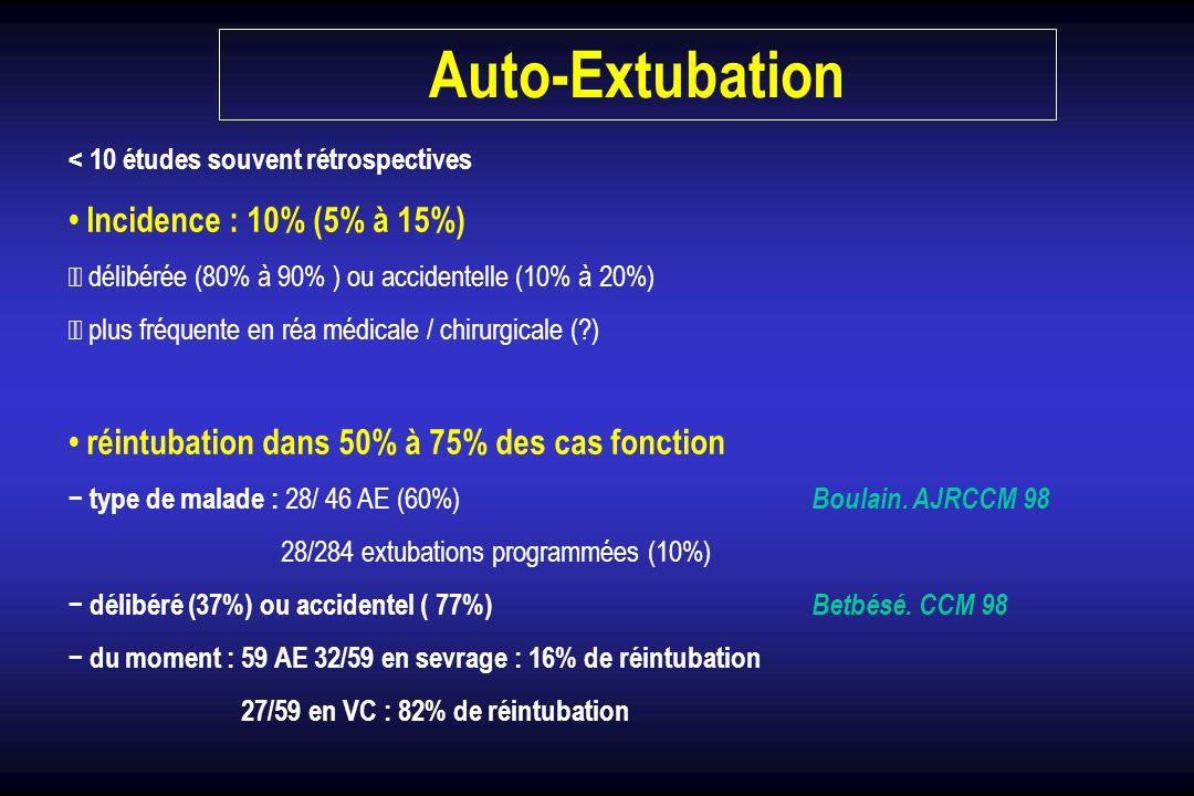 Auto-Extubation • Incidence : 10% (5% à 15%)