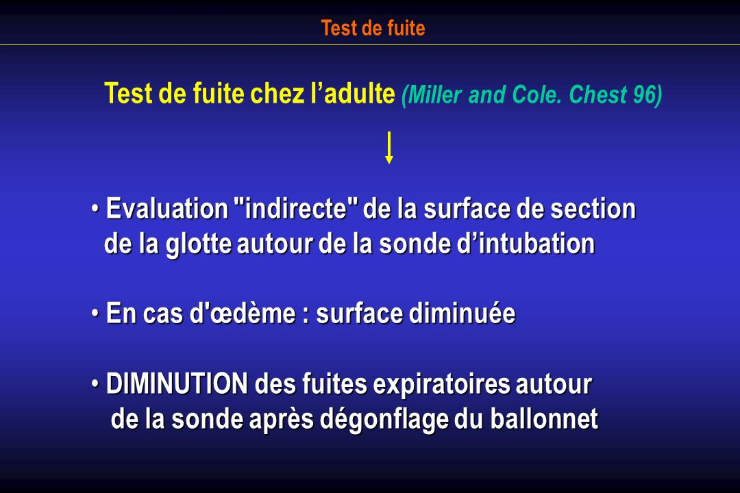Test de fuite chez l'adulte (Miller and Cole. Chest 96)