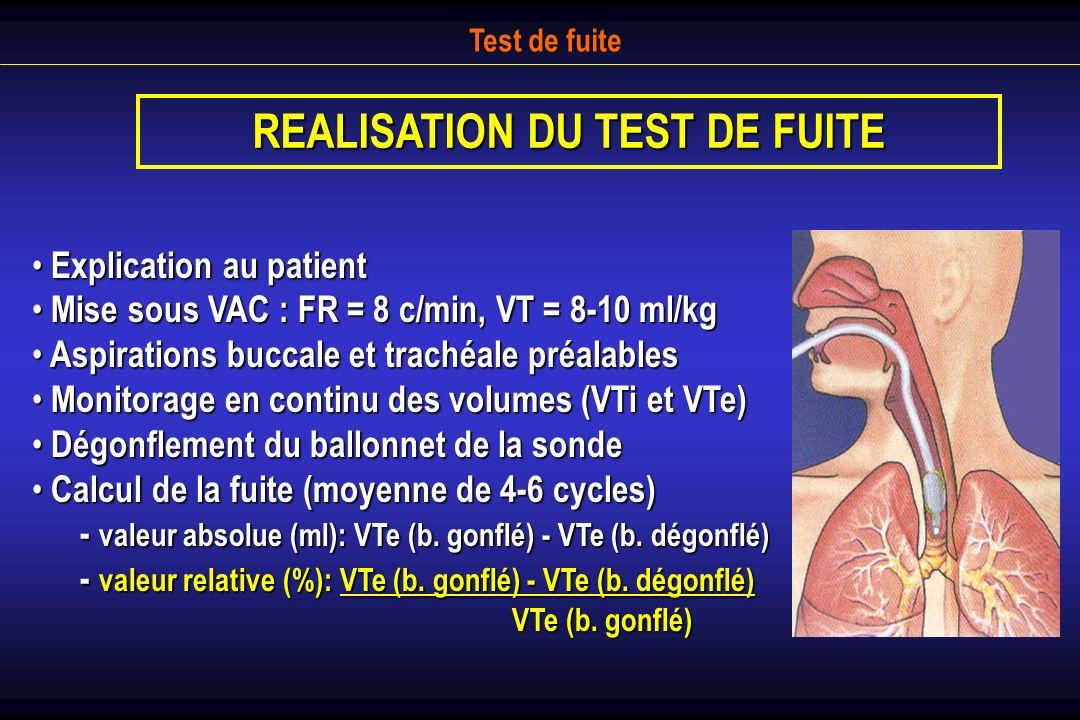 REALISATION DU TEST DE FUITE